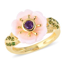 Pink Mother of Pearl (2.50 Ct),Russian Diopside,African Amethyst Sterling Silver Ring  2.765  Ct.