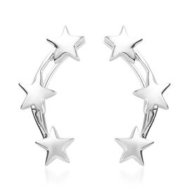 Platinum Overlay Sterling Silver Star Climber Earrings, Silver wt 3.74 Gms.