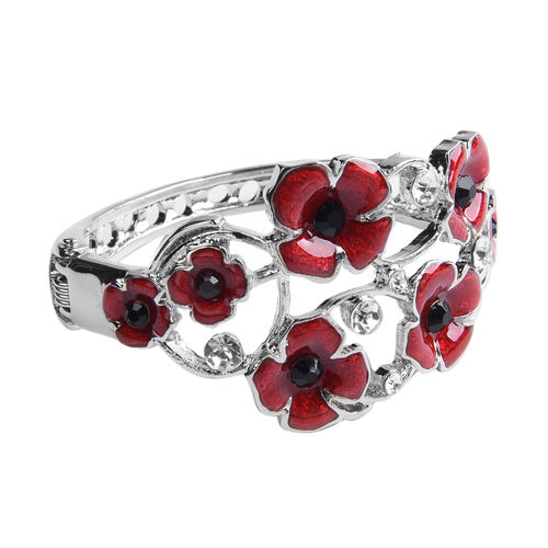 TJC Poppy Design - Black and White Austrian Crystal Enamelled Poppy Bangle (Size 6.5) in Silver Plated