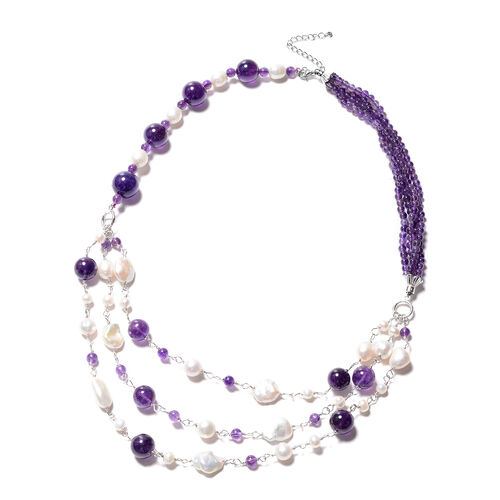 GP- Amethyst and Freshwater Pearl Necklace (Size 24 with 3 inch Extender) in Rhodium Overlay Sterlin