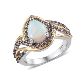 Ethiopian Welo Opal (Pear), Brown Zircon Ring in Platinum and Yellow Gold Overlay Sterling Silver 1.