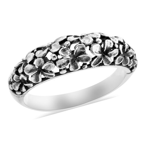 Royal Bali Collection Floral Band Ring in Sterling Silver 3.70 Grams