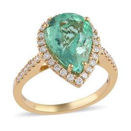 ILIANA 18K Yellow Gold AAA Boyaca Colombian Emerald and Diamond (SI/G-H) Ring 4.30 Ct, Gold wt. 4.72