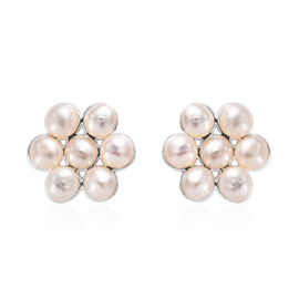 Freshwater Pearl Floral Stud Earrings in Sterling Silver with Push Back