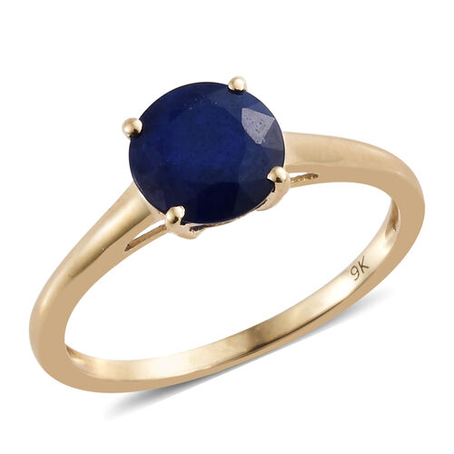 9K Yellow Gold AAA Blue Spinel (Rnd) Solitaire Ring 1.250 Ct.