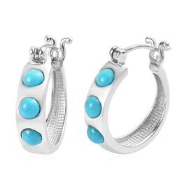 Arizona Sleeping Beauty Turquoise (Rnd) Hoop Earrings (with Clasp) in Platinum Overlay Sterling Silv