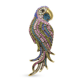 Multi Colour Crystal Parrot Brooch in Gold Tone