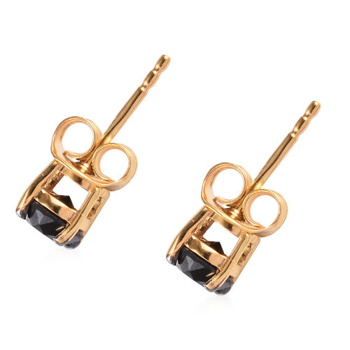 Black Diamond Stud Earrings (with Push Back) in 14K Gold Overlay Sterling Silver 1.00 Ct.