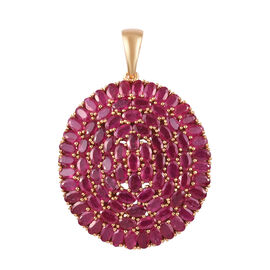 25.25 Ct AAA African Ruby Cluster Pendant in Gold Plated Sterling Silver
