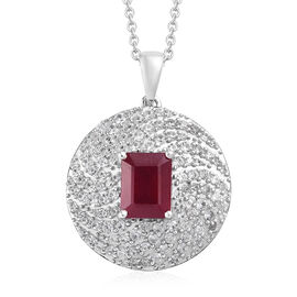 African Ruby (Oct), Natural Cambodian Zircon Pendant With Chain (Size 18) in Platinum Overlay Sterling Silver 6.000 Ct.
