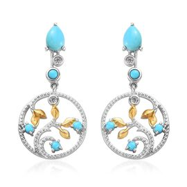 2.16 Ct Sleeping Beauty Turquoise and Zircon Leaf Drop Earrings in Platinum and Gold Plated Silver