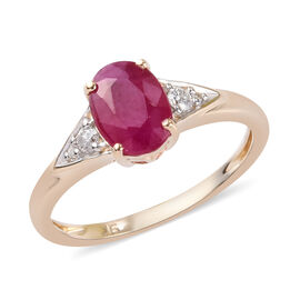 9K Yellow Gold AA Burmese Ruby and Diamond Ring 1.75 Ct.
