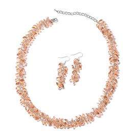 Champagne Colour Beaded Necklace and Drop Earrings 19 Inch with 2.5 Inch Extender