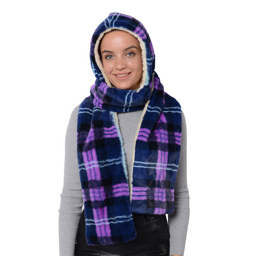 Plaid Hooded Scarf (Size 17x200cm) - Purple, Grey and Blue Colour