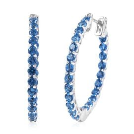 Lustro Stella Simulated Blue Sapphire Hoop Earrings with Clasp in Rhodium Plated Silver