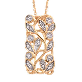 Diamond (Rnd) Leaves Pendant With Chain (Size 20) in 14K Gold Overlay Sterling Silver