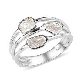 0.30 Ct Polki Diamond Trilogy Ring in Platinum Plated Sterling Silver