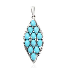 Arizona Sleeping Beauty Turquoise (Pear), Diamond Cluster Pendant in Platinum Overlay Sterling Silve