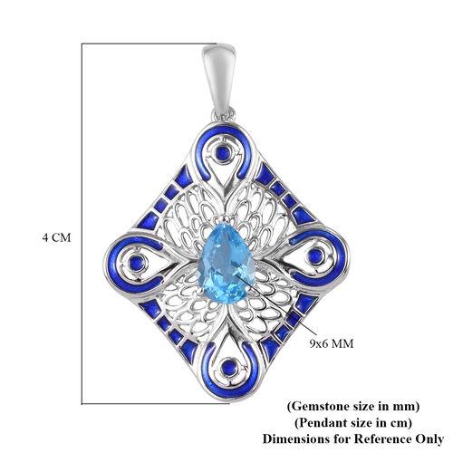 Swiss Blue Topaz Enamelled Pendant in Platinum Overlay Sterling Silver 1.50 Ct.
