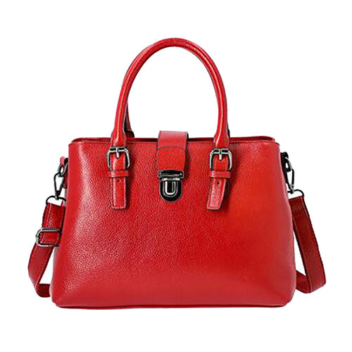 SUPER SOFT 100% Genuine Leather Handbag with Detachable Shoulder Strap and Zipper Closure (Size 30x1