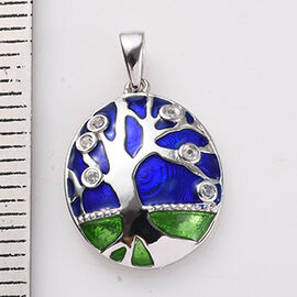 GP - Natural Cambodian Zircon and Blue Sapphire Enamelled Tree Pendant in Rhodium Overlay Sterling S