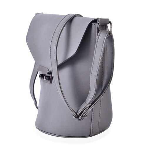 Grey Colour Crossbody Bag with Adjustable Shoulder Strap (Size 24.5x24x16x16 cm)