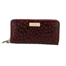 100% Genuine Leather RFID Protected Ostrich Embossed Wallet (Size 20.4x3x11.7 Cm) - Burgundy