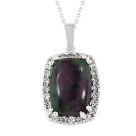 Ruby Zoisite (Cush 14x10 mm), Natural Cambodian Zircon Pendant With Chain (Size 20) in Platinum Over