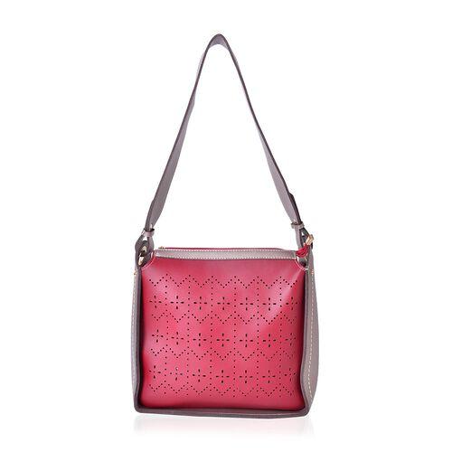 Red and Light Grey Colour Cutout Pattern Shoulder Bag (Size 28X28X10 Cm)