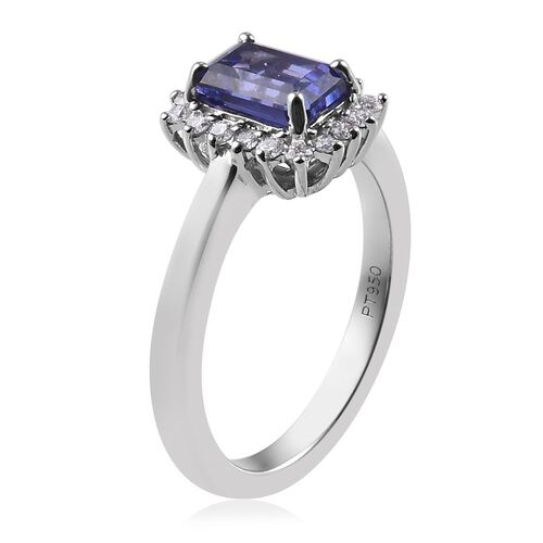 RHAPSODY 950 Platinum AAAA Tanzanite and Diamond (VS/E-F) Ring 1.20 Ct.
