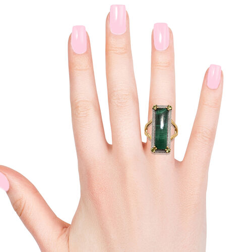 Extremely Rare Cut Malachite (Bgt 24X7) and Hebei Peridot Ring in 18K Yellow Gold Overlay
