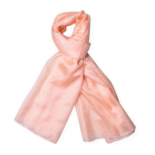 100% Mulberry Silk Salmon Colour Scarf (Size 180x110 Cm)