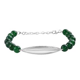 Green Onyx Beads Bracelet (Size 7 with 1.5 Inch Extender) in Sterling Silver 68.250 Ct.