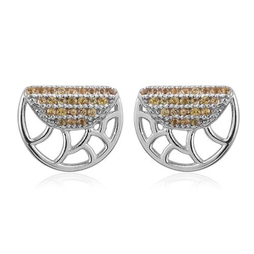 Yellow Sapphire Silver Stud Earrings (with Push Back) in Platinum Overlay