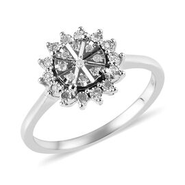 Diamond Floral Cluster Ring in Platinum Plated Sterling Silver 0.10 Ct