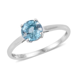 9K White Gold Blue Zircon (Rnd) Solitaire Ring 1.250 Ct.