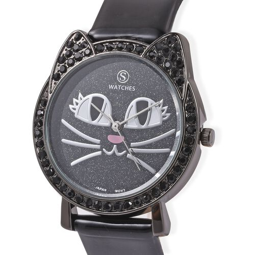 STRADA Japanese Movement Black Austrian Crystal Studded Water Resistant Kitty Face Black Stardust Dial Watch with Black Strap