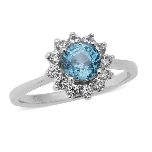 2.13 Ct Ratanakiri Blue Zircon and Zircon Clurster Ring in Rhodium Plated Sterling Silver