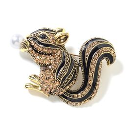 Champagne and Black Austrian Crystal (Rnd), Simulated Pearl Squirrel Brooch