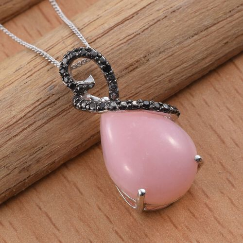 Natural Peruvian Pink Opal (Pear), Black Diamond Pendant With Chain in Platinum Overlay Sterling Silver 8.500 Ct.