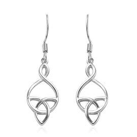 Platinum Overlay Sterling Silver Celtic Knot Hook Earrings