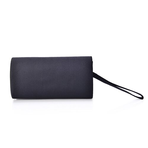 Close Out Deal Black Satin Bow Clutch with Removable Chain Strap (Size 30x10 Cm)
