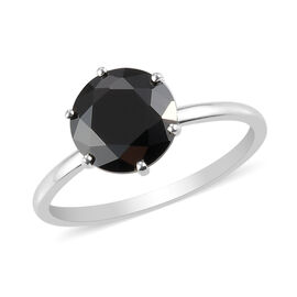 Simulated Black Spinel Solitaire Ring in Sterling Silver