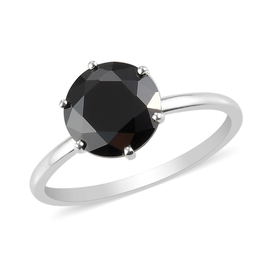 ELANZA Simulated Black Spinel Solitaire Ring in Sterling Silver