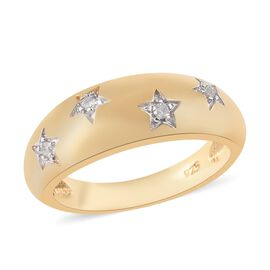 Diamond (Rnd) Star Dome Ring in 14K Gold Overlay Sterling Silver