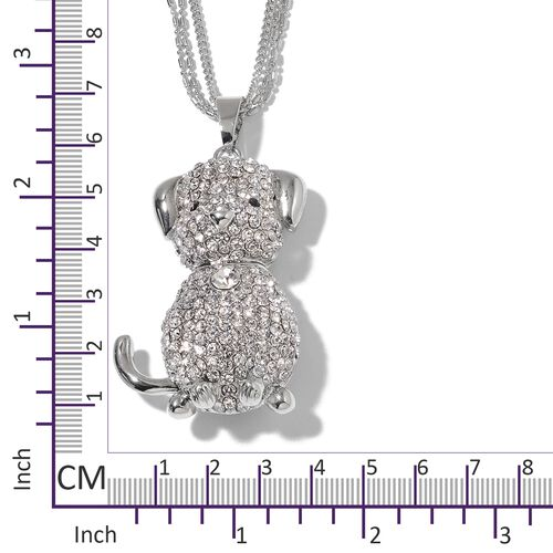 Austrian White and Black Crystal Dog Pendant With Chain (Size 28 with 2.50 inch Extender) in Silver Plating.