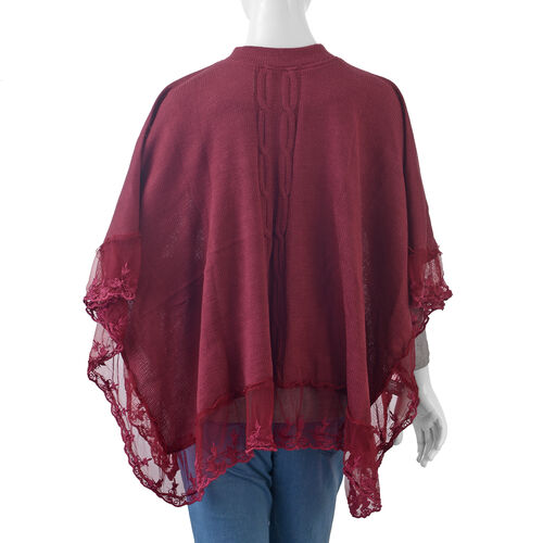 Wine Red Colour Poncho with Embellished Net Lace