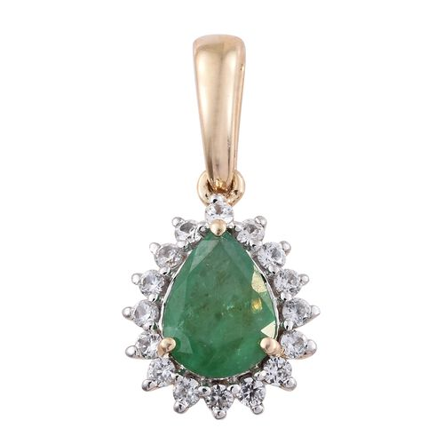 2 Carat AAA Kagem Zambian Emerald and Natural Cambodian Zircon Halo Pendant in 9K Gold