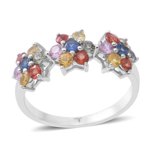 Rainbow Sapphire (Rnd) Trilogy Floral Ring in Sterling Silver 1.650 Ct.