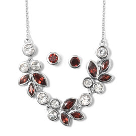 Mozambique Garnet (Mrq), White Topaz Leaf Necklace with Chain (Size 18) and Stud Earrings (with Push Back) in Platinum Overlay Sterling Silver 9.500 Ct, Silver wt 10.00 Gms.